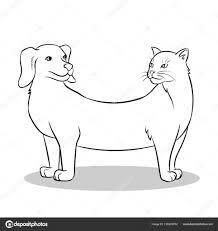 Kat Hond Nep Dieren Kleurplaten Vectorillustratie Stockvector