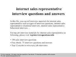Internet Sales Representative Interview Questions And Answers