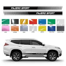 Pajero Sticker Design Us 25 82 30 Off Car Sticker 2pc Car Side Body Stripe Gradient Styling Graphic Vinyl Car Accessories Decal Custom For Mitsubishi Pajero Sport In Car