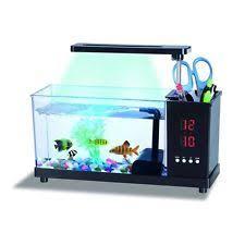 usb desktop mini fish tank water running pump colorful light aquarium alarm office desk aquarium