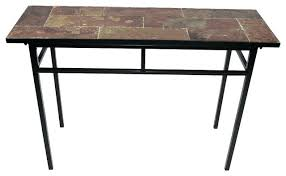 Iron Console Table With Stone Top Hall For Popular Slate In Metal Rustic