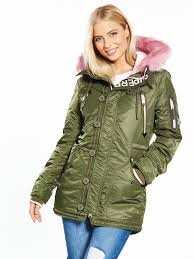 superdry sd l parka coat army pink giving the classic khaki coloured parka a kooky cool style twist fully quilt lined lpxv9 adxhcfa