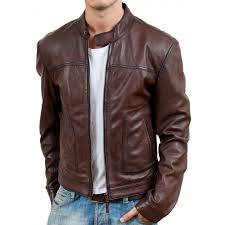 brown biker style leather jacket zoom men s