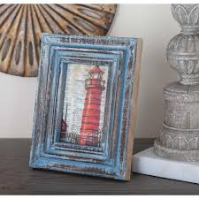 distressed brown and blue wood picture frame