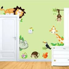 wallart for kids new cute jungle wild animals wall art decals bedroom baby nursery stickers decor