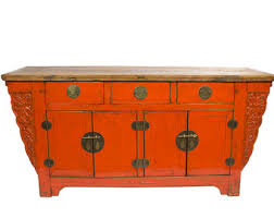 antique chinese storage cabinet console or media piece in distressed orange los angeles chinese inspired furniture