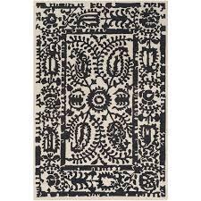 black and cream rug. Laurel Foundry Modern Farmhouse Montgomery Hand-Tufted Black/Cream Area Rug | Wayfair Black And Cream