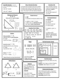 7th Grade Math Staar Reference Chart 8th Grade Math Staar Review Study Sheet 8th Grade Math