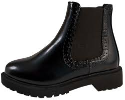 womens chelsea brogue ankle boots low heel chunky sole girls school shoes size