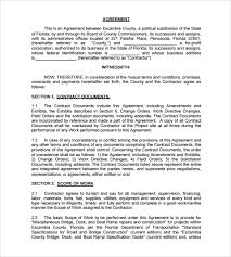 Sample Construction Contract Printable Template Construction Contract Sample