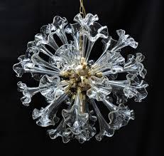 striking murano glass sputnik flower chandelier this dramatic light fixture has clear hand blown glass fl