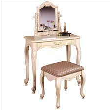 image of antique white makeup vanity table