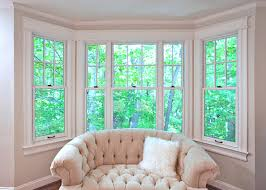 Designs Ideas:Bay Window Decor With Comfy Tufted Sofa Seat And White Fluffy  Cushion Bay