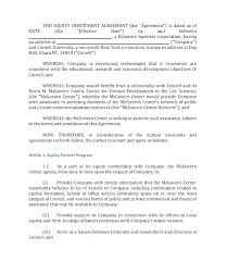Business Investment Contract Sample Music Investor Contract Small