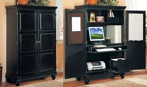 hideaway office design. desk charming home office design with black wood armoire cabinet feat computer and keyboard hideaway