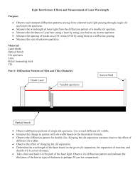 Wavelength Of Laser Light Formula Light Interference Lab Physics Astronomy Pages 1 5