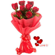 v day gift of red roses bouquet