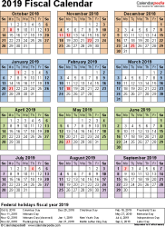 fiscal year 2019 dates fiscal calendars 2019 as free printable word templates