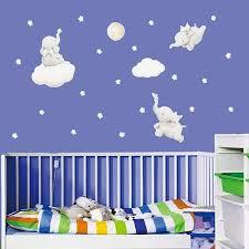 baby elephant moon star cloud wall