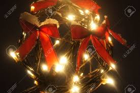 Light Up Christmas Bows Outdoor Christmas Ornament Lit Up With Red Bows