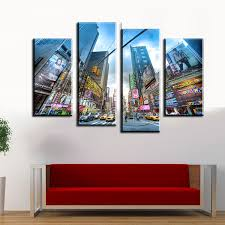 2016 cuadros 4pcs busy city streets wall painting print on canvas for home decor ideas paints