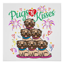 Get Well Soon Poster Pugs N Kisses Miss You Get Well Soon Gift Idea Poster