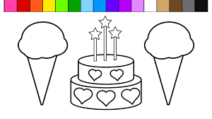 Small Picture Color Ice Cream Heart Birthday Cake Coloring Pages for Kids and
