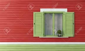 Detail Eines Hölzernen Haus Mit Grünen Fenster Rendering