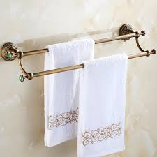 KHSKX Continental Antique Copper Double Towel Rack Vintage - Bathroom towel bar height