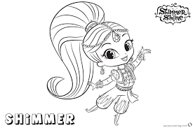 Shimmer And Shine Coloring Pages Shimmer Is Dancing Free Printable