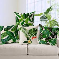square pillow case printed leaves decor thick cotton linen throw pillow case cushion cover home sofa decor 18 inches 24 outdoor cushions outdoor cushion