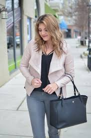 blush leather jacket outfit blush jacket with black tank and grey jeans through