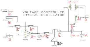 the circuit of the vole controlled crystal oscillator is shown to the right u11 is an lifier with a set gain of 4 which allows a control vole of