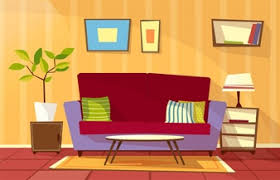 Cartoon Living Room Interior Background Template Cozy House Apartment Concept
