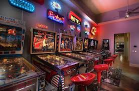 gaming man cave. Pinball Machine Game Room With Neon Signs Gaming Man Cave