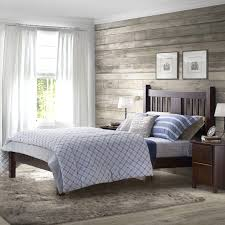 shaker style platform bed varnished wooden bed frame headboard footboard white round pendant lamp grey covered bedding light gray bedding home improvement