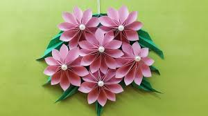 origami easy paper flower paper flower wall hanging diy handmade craft wall decoration ideas seface