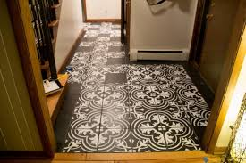 faux cement tile stenciled floor