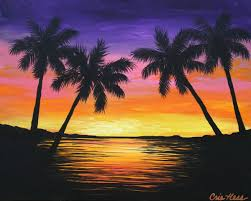 incredible ideas for easy paintings palm trees and beah picture theme light morning easy painting easy paintings decorating wonderful ideas of easy