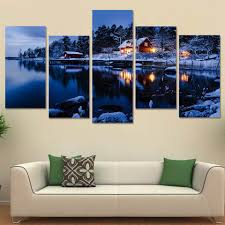 fresh lake wall art home decorating ideas winter snow scene cabin forest trees 5 piece canvas panel print ash house district