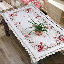 tablecloth for coffee table flower embroidered rectangle table cloth polyester table cover table linen for rectangle