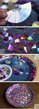 Craft Decor Tiles Mosaic tile birdbath using recycled DVDs Mosaics Creative and Craft 43