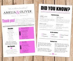 Fun Wedding Programs Fun Facts Wedding Program Printable Wedding Program Modern