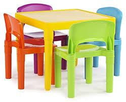 tot tutors kids plastic table and 4 chairs set vibrant colors