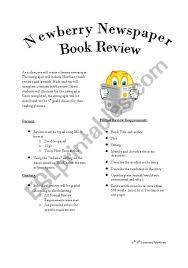 English Worksheets Newberry Award Winner Book Report