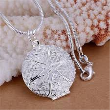 details about womens fashion silver charms hollow flower photo frame pendant chain necklace