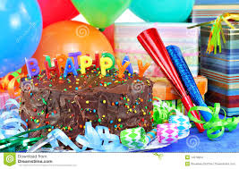Happy Birthday Cake And Balloons Stock Image