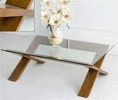coffee table with wooden leg glass