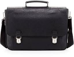 bally leather double snap briefcase black