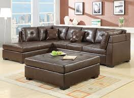 awesome brown leather living room furniture design brown leather sectional sofa square leather ottoman coffee table